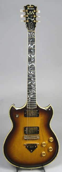 1978 Ibanez Professional 2681AV Bob Weir Model: Beautiful Vine Inlay, rare Antique Violin finish, carved Ash body, Gold Hardware, and Flying Finger pickups.