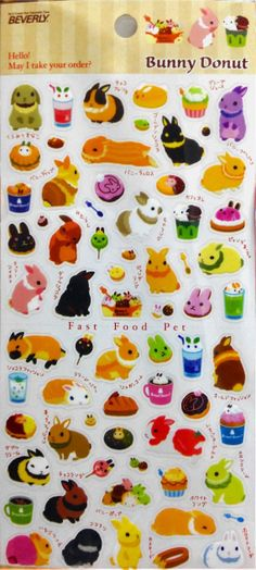 Kawaii Japan Stcker Sheet Assort:Bunny Donut