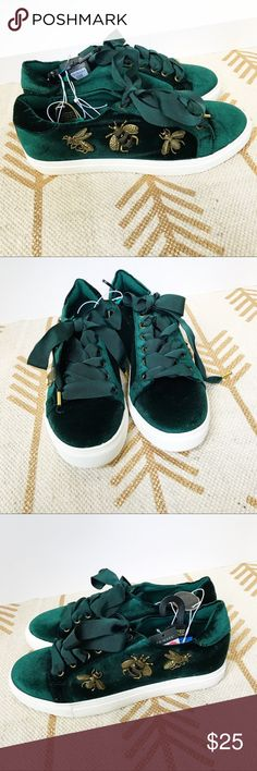 Emerald velvet bumble bee embellished sneakers Literally the coolest sneakers ever made. Emerald velvet with gold toned bees on the side. Ribbon laces. Never worn, a couple little scuffs on the rubber from storage. I hate selling these because they're so cool, but I'm not a 9 so they're just too big. These are brand new with tags, purchased from Primark. primark Shoes Sneakers