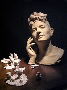 """""""Portrait of Penelope Delta"""" Special Plaster, Wood and Stoneware Clay by Panayiotis Pasantas Stoneware Clay, Sculpture, Fine Art, Statue, Portrait, Plaster, Artist, Mad, Plastering"""