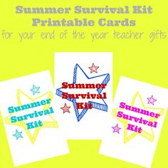 summer survival kit printable cards