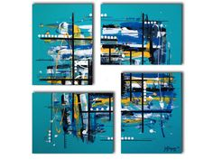 ✿ Details ‾‾‾‾‾‾‾‾‾‾‾‾‾ Original 4 piece abstract painting on traditional canvas. This turquoise painting is very original and unique because of the canvas placement. It would look great as a boys room decor, as well as over a fireplace where square paintings look amazing! This painting has