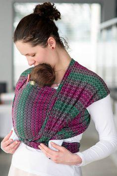 Żakardowa chusta do noszenia dzieci, 100% bawełna - LITTLE LOVE - ORCHIDEA - rozmiar S (drugi gatunek)