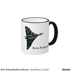 Avro Vulcan Bomber with your monogram Ringer Coffee Mug.  A smart black and white mug with the Avro Vulcan on one side and your name or initials on the other.  It's a mug you can personalise.