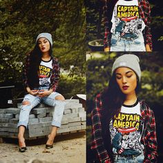 Nowhere Beanie, Forever 21 Captain America Tanktop, Missguided Jeans, Fashion Union Heels, Berska Shirt