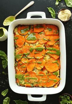 Vegan Sweet Potato Lasagna! 9 ingredients. Sweet Potato Lasagna Recipe, Sweet Potato Recipes, Baker Recipes, Cooking Recipes, Vegetarian Recipes, Healthy Recipes, Vegetarian Dish, Sin Gluten, Food Processor Recipes