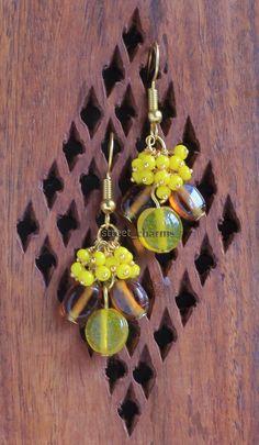 Mixed yellow glass bead earrings