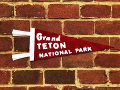 This custom wool felt Grand Teton National Park Pennant measures approximately 8 x 20 inches. Each pennant is unique with handcrafted wool felt lettering. Colors: red and white National Park Gifts, National Park Posters, National Parks, Park Art, Grand Teton National Park, Wool Felt, Awesome, Handmade Gifts, Etsy