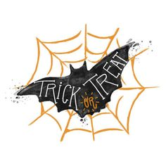 Trick or Treat Bat Watercolor Vector ❤ liked on Polyvore featuring halloween