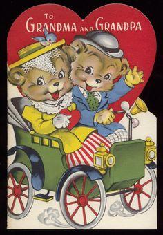Vintage Valentine  Teddy Bear Couple in Car  by GinghamElephant