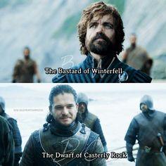 This scene. Jon Snow and Tyrion Lannister, game of thrones season 7. Kit Harington, Peter Dinklage