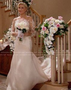 Brooke's wedding dress on The Bold and the Beautiful. Outfit Details: https://wornontv.net/91273/ #TheBoldandtheBeautiful
