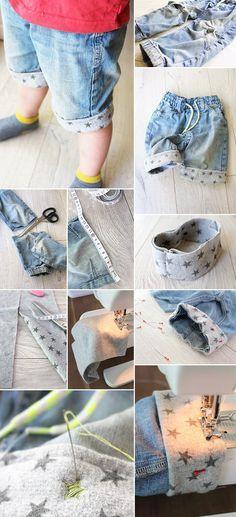 Aus Jeans Shorts machen1Hosenbeine abschneiden2Maß nehmen3Stoff zum Annähen vorbereiten4Stoff annähen5Umschlag