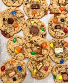 Mix your favorite leftover Halloween candy into a cookie dough that can be frozen and then baked whenever you're craving a warm and yummy cookie! Frozen Cookie Dough, Cookie Dough Recipes, Candy Recipes, Sweet Recipes, Baking Recipes, Halloween Cookie Recipes, Halloween Candy, Halloween Ideas, Healthy Cookies