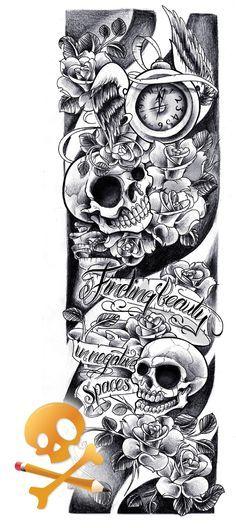 Pin by willie galvan on ink tattoos, sleeve tattoos, tattoo designs. Full Arm Sleeve Tattoo, Skull Sleeve, Tattoo Sleeve Designs, Tattoo Arm, Full Arm Tattoos, Tattoo Flash, Symbol Tattoos, Skull Tattoos, Body Art Tattoos