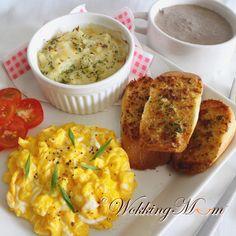 scrambled eggs & truffle oil + garlic bread...