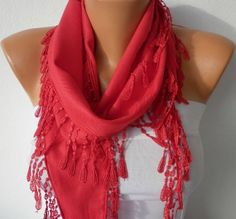 Red Scarf    Pashmina Scarf    Cowl Scarf with Lace by fatwoman, $15.00