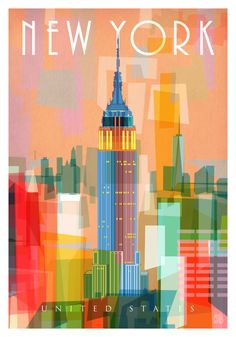 Travel Poster - New York - USA. - Limited Edition Art Print created using hand drawn elements, collage and digital media.