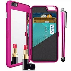 iPhone 7 Plus Case,Vandot [Hidden Make-up Mirror] Luxury Wallet Case With Credit Card Holder Stand Feature Hard PC Back Cover Protective Skin For Apple iPhone 7 Plus 5.5 inch +Stylus Pen-Hot Pink. Hidden Mirror Series - Specially design for Apple iPhone 7 Plus 5.5 inch. High quality PC material - Fashion & luxury & unique designs,Great textured to touch,timeproof and durable. Kickstand function - Convenient for movie-watching ,video-chatting or browse the Web,let you enjoy life's pleasure...