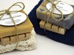 Great gift sets: Select any soap in our collection  and a washcloth (selection for washcloths coming soon).  The set also comes with a handmade soap saver.  This would make a perfect handmade gift for someone special.