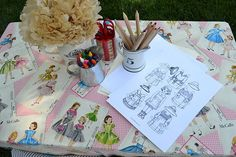 Table cloth idea for vintage paper doll party