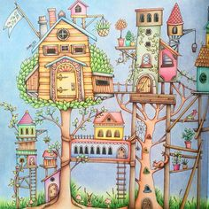 Inspiration for the tree houses. Enchanted Forest Book, Enchanted Forest Coloring Book, Coloring Book Art, Colouring Pages, Adult Coloring, Johanna Basford Secret Garden, Johanna Basford Coloring Book, Forest Creatures, Cottage Art