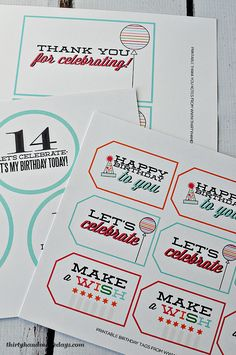 FREE Birthday Printables from www.thirtyhandmad… FREE Birthday Printables from www. Printable Labels, Printable Paper, Party Printables, Free Printables, Birthday Tags, Happy Birthday, Free Birthday, Birthday Ideas, Special Birthday