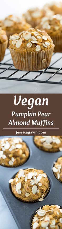 Vegan Pumpkin Pear Almond Muffins - Tender moist pumpkin muffins are packed with sauteed spiced pears, crunchy almonds and wholesome oats | jessicagavin.com