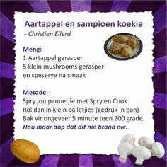Aartappel en sampioen koekie Healthy Eating Recipes, Diabetic Recipes, Veggie Recipes, Healthy Tips, Diet Recipes, Cooking Recipes, 28 Dae Dieet, Bacon Wrapped Potatoes, Dieet Plan