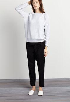 white sweater, cropped black pants & white flats #stye #fashion