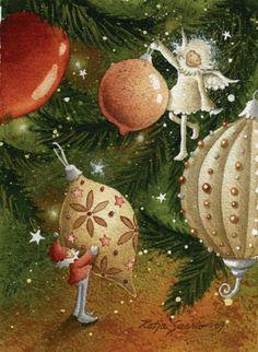 Risultati immagini per Katja Saario Christmas Tale, All Things Christmas, Christmas Bulbs, Christmas Cards, Xmas, Christmas Illustration, Illustration Art, Art Illustrations, Christmas Graphics