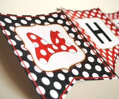 Banner Bunting Inspired by Minnie Mouse  Classic by LisaKaydesigns, $8.00