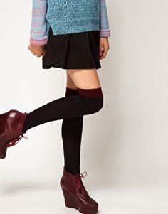 Enlarge ASOS Contrast Rib Over The Knee Sock