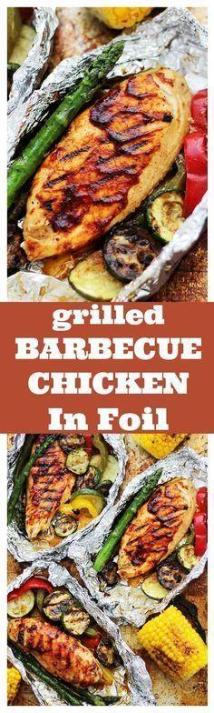 Grilled Barbecue Chicken & Vegetables in Foil #Grillingtips