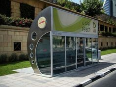 Fully enclosed and air-conditioned bus-stop in Dubai.