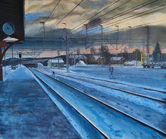 Oil on canvas 2020 140x118 cm Northern Line, Oil On Canvas, Cool Pictures, Louvre, Paintings, Building, Travel, Viajes, Paint