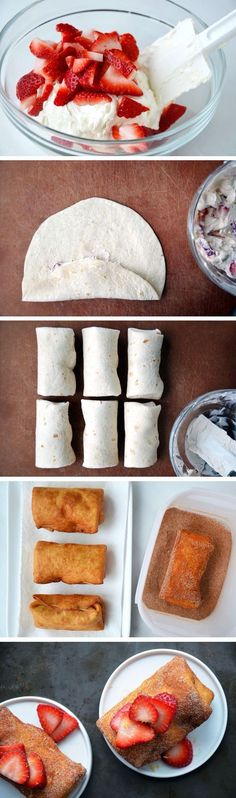 strawberry cheesecake chimichangas dessert. well yes, I will be making these tomorrow ;) nom nom nom!