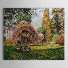 dipinti a mano il Parc Monceau, pittura ad olio parigi di Claude Monet con telaio allungato – EUR € 65.99