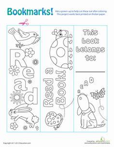 Kindergarten Paper Projects Worksheets: Color Your Own Bookmarks! Worksheet