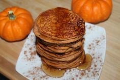 Pumpkin Pancakes | (250) 3/4 cup canned pumpkin (180g) 1 scoop MTS Vanilla Whey (30g) 1/2 cup egg substitute (92g) 1/2 t baking powder 1/2 t vanilla 1/2 t cinnamon sweetener to taste (3 packets)