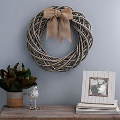 This Willow Branch Wreath features an ash-gray finish reminiscent of sun-bleached driftwood. It will look great hanging on the front door of any coastal home. Willow Wreath, Grapevine Wreath, Burlap Wreath, Willow Branches, Modern Farmhouse Decor, Vintage Decor, Grape Vines, Wall Art Decor, Home Accessories
