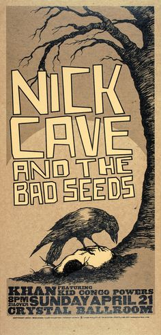 """Reproduction """"Nick Cave & The Bad Seeds - Crystal Ballroom"""" Poster, Home Wall Art, Size: x The Decemberists, Z Music, The Queen Is Dead, Stoner Rock, Jazz Poster, Band Wallpapers, The Bad Seed, Nick Cave, Band Posters"""