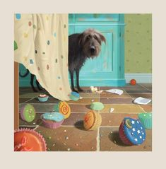 Cards & Stationery Toby Second Breakfast Square Art Greeting Card Blank Inside Any Occasion & Garden Photo Images, Square Art, Dog Paintings, Whimsical Art, Dog Art, Belle Photo, Cute Art, Art Drawings, Illustration Art