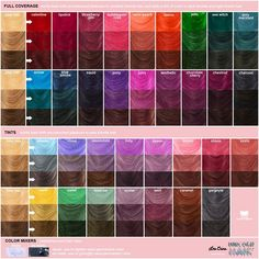 lime-crime-unicorn-hair-color-shades Nearly every one of the hair colour trends 2019 to in Hair Dye Color Chart, Hair Chart, Hair Dye Colors, Ombre Hair Color, Lime Crime Hair Dye, Cabelo Rose Gold, Hair Color Swatches, Cheveux Oranges, Unicorn Hair Color