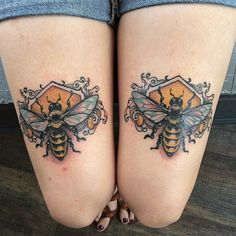 Bee thighs tattoos, also by Mike Moses.