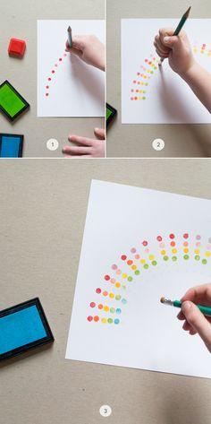 DIY Eraser Stamp Rainbow Art - super fácil para miudos e graudos, um 'penso em ti' para aqueles de quem gostamos