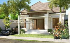 Inspiring Modern Dream House You Will Love. Designing an elegant modern dream home requires a great energy. Careful planning and seriousness in workmanship are the key to making a home. Minimalist House Design, Small House Design, Bali Style Home, Bungalow Haus Design, Modern Tropical House, One Storey House, Village House Design, Model House Plan, Cottage Style Homes