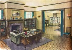 This living room was illustrated in a Ladies Home Journal during the period of Armstrong's association with Frank Alvah Parsons or more likely his atelier, the students of which may have produced these pieces. Notice the portière draperies between the dining and living rooms that would have kept the heat from the fireplace in the living room where shivering humans could enjoy it. It's easy to imagine this as the living room of the 1922 Lewis Piping Rock house plan.