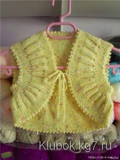 """""""Wrinkle-bunching"""" - bolero for crumbs . Comments: LiveInternet - Russian Service Online Diaries may I have the pattern for this bolero please ,if it there do I just go to translate ,thank you so much Knitting For Kids, Baby Knitting Patterns, Baby Patterns, Gilet Crochet, Knit Crochet, Crochet Hats, Knitted Baby, Free Crochet, Crochet Girls"""