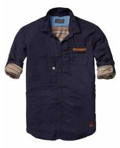 Bonded Shirt With Leather Chest Pocket > Mens Clothing > Shirts at Scotch & Soda - Official Scotch & Soda Online Fashion & Apparel Shops